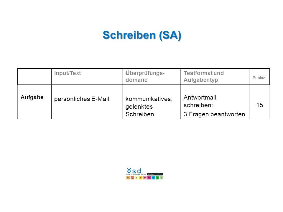 Schreiben (SA) persönliches E-Mail kommunikatives, gelenktes Schreiben