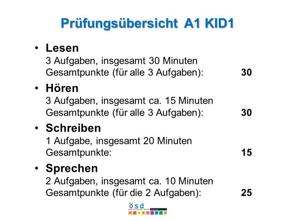 Prüfungsübersicht A1 KID1