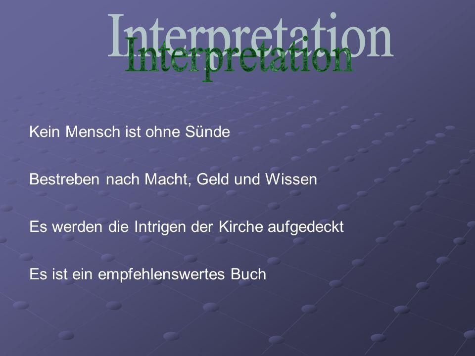 Interpretation Kein Mensch ist ohne Sünde