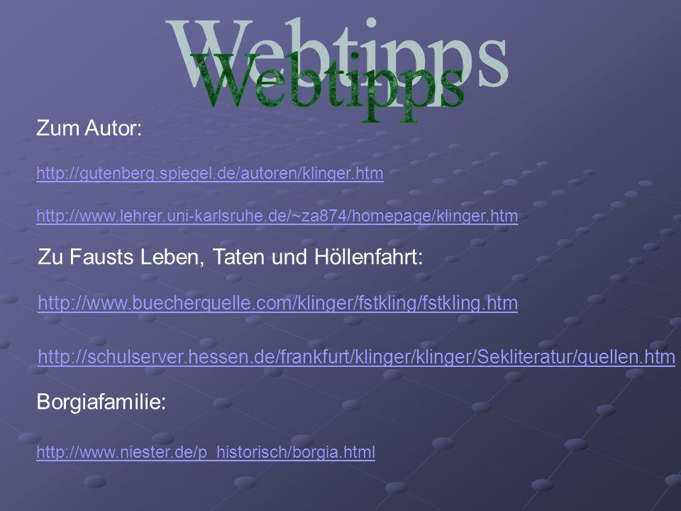 Webtipps Zum Autor: Zu Fausts Leben, Taten und Höllenfahrt: