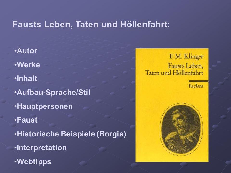 Fausts Leben, Taten und Höllenfahrt: