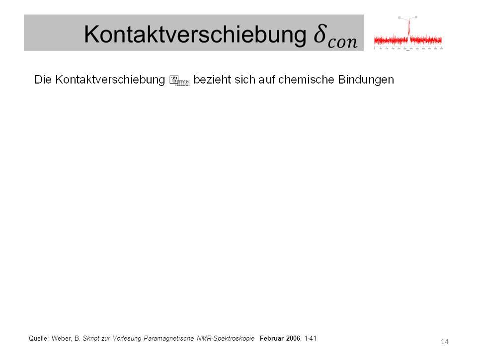 Quelle: Weber, B. Skript zur Vorlesung Paramagnetische NMR-Spektroskopie Februar 2006, 1-41