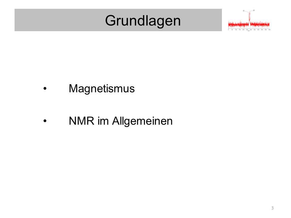 Grundlagen Magnetismus NMR im Allgemeinen