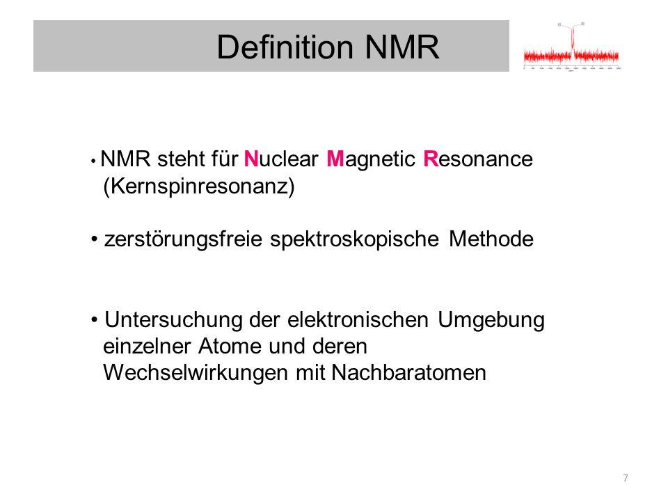 Definition NMR NMR steht für Nuclear Magnetic Resonance (Kernspinresonanz) zerstörungsfreie spektroskopische Methode Kernspinresonanzen.