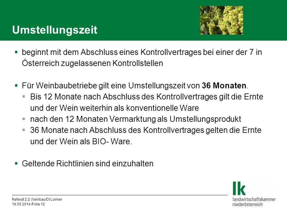 Umstellungszeit beginnt mit dem Abschluss eines Kontrollvertrages bei einer der 7 in Österreich zugelassenen Kontrollstellen.