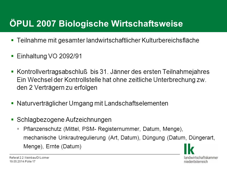 ÖPUL 2007 Biologische Wirtschaftsweise