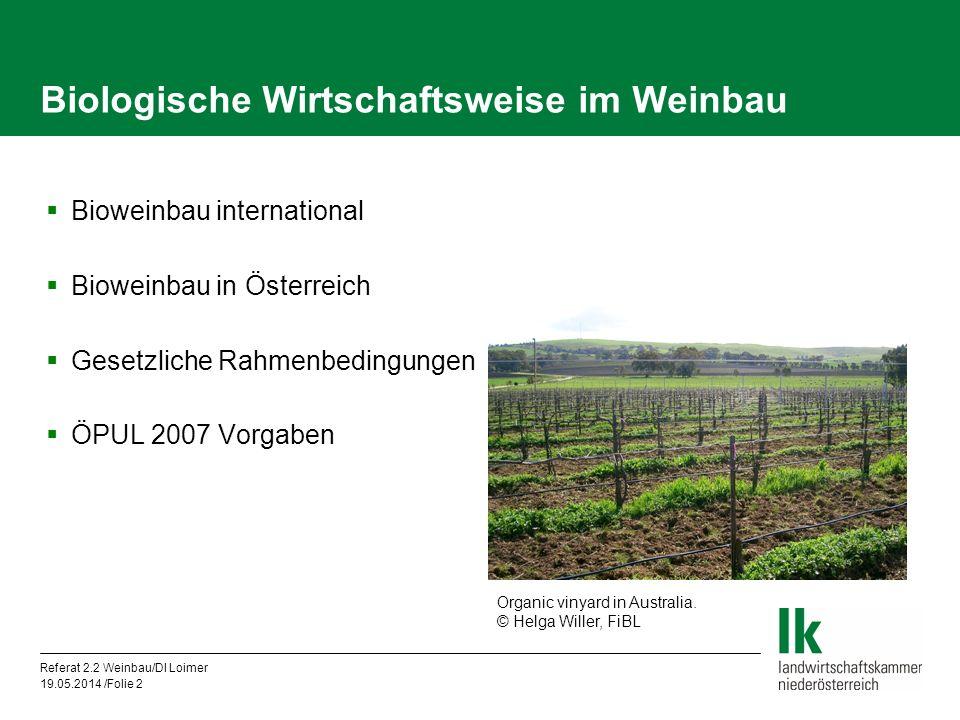 Biologische Wirtschaftsweise im Weinbau