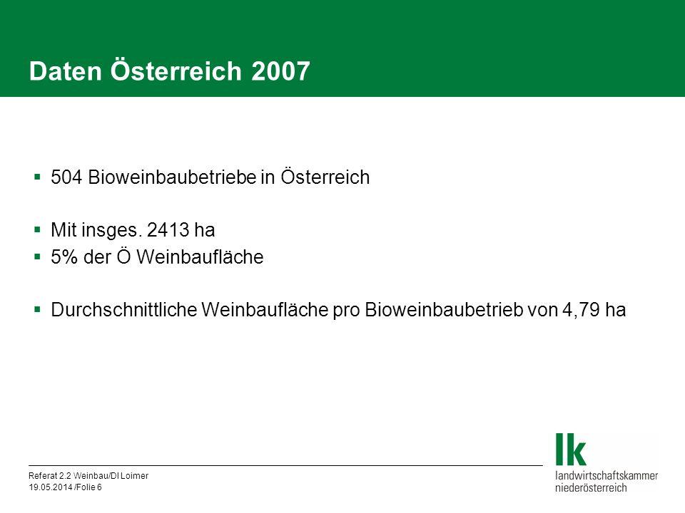 Daten Österreich 2007 504 Bioweinbaubetriebe in Österreich