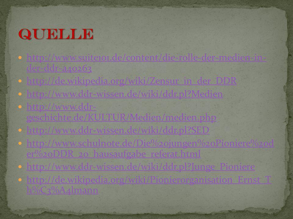 Quelle http://www.suite101.de/content/die-rolle-der-medien-in- der-ddr-a40263. http://de.wikipedia.org/wiki/Zensur_in_der_DDR.