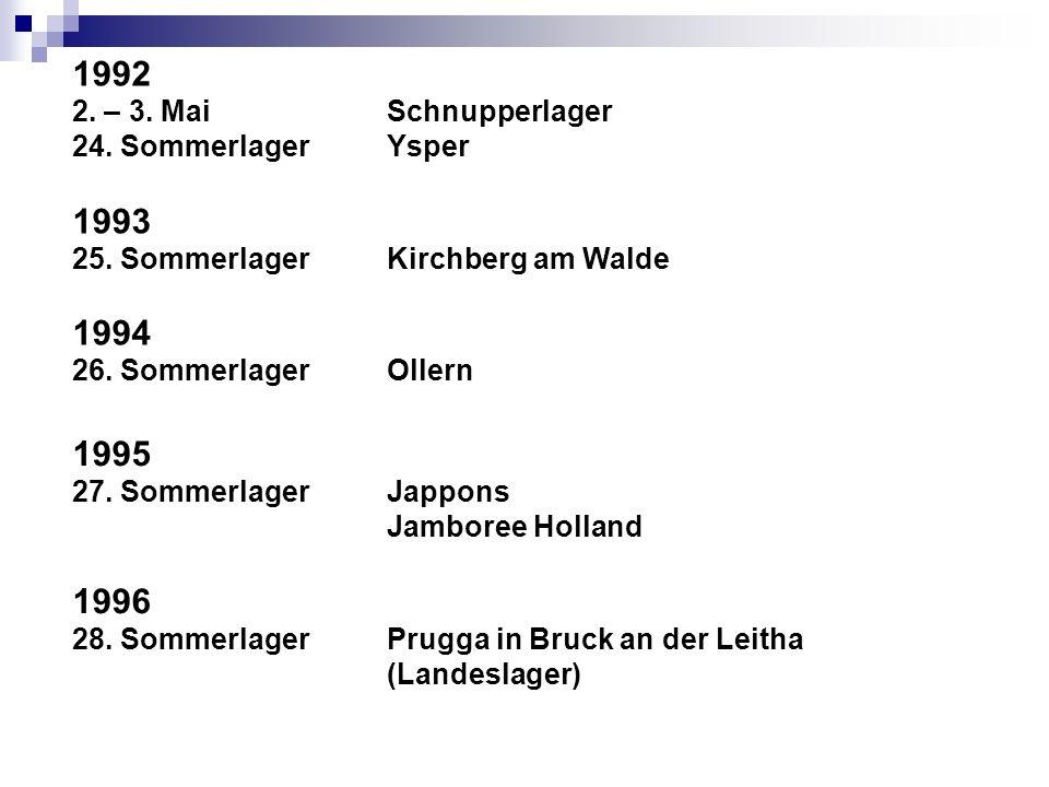 1992 2. – 3. Mai Schnupperlager. 24. Sommerlager Ysper. 1993. 25. Sommerlager Kirchberg am Walde.