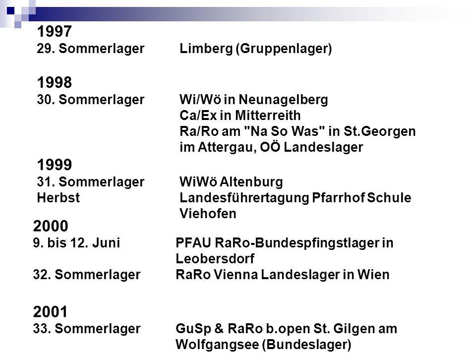 1997 1998 1999 2000 2001 29. Sommerlager Limberg (Gruppenlager)