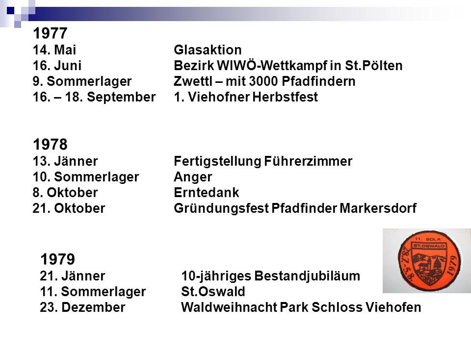 1977 14. Mai Glasaktion. 16. Juni Bezirk WIWÖ-Wettkampf in St.Pölten. 9. Sommerlager Zwettl – mit 3000 Pfadfindern.