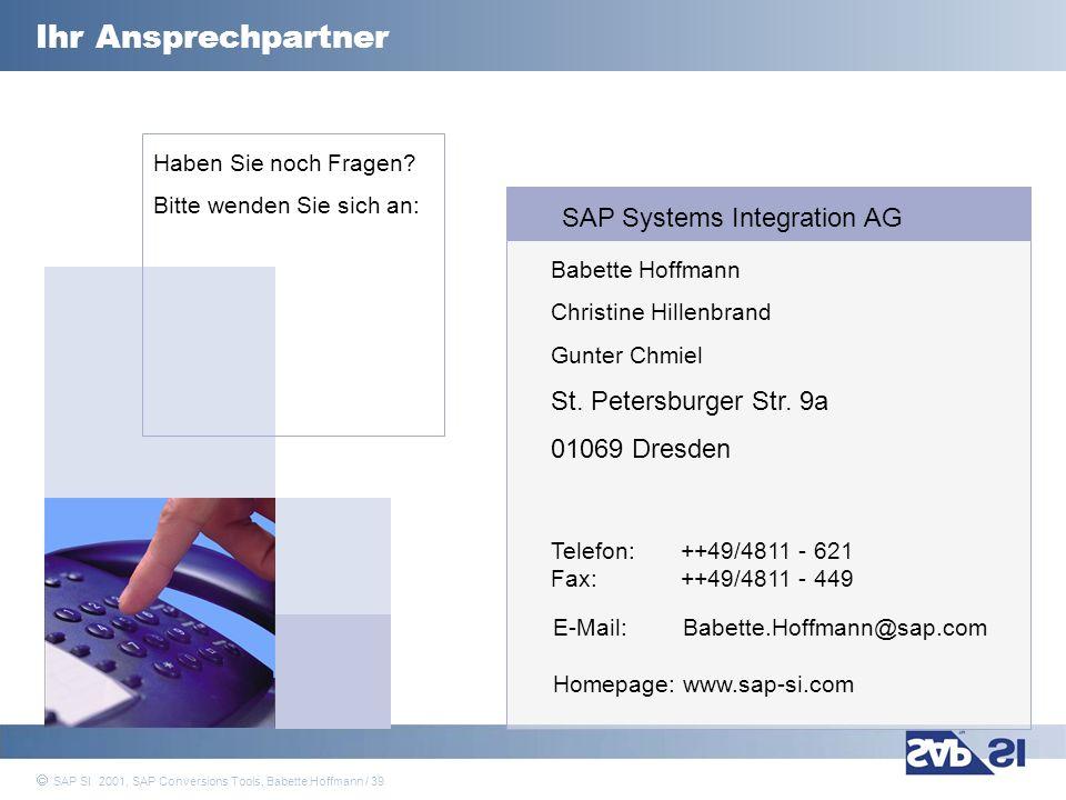 Ihr Ansprechpartner SAP Systems Integration AG