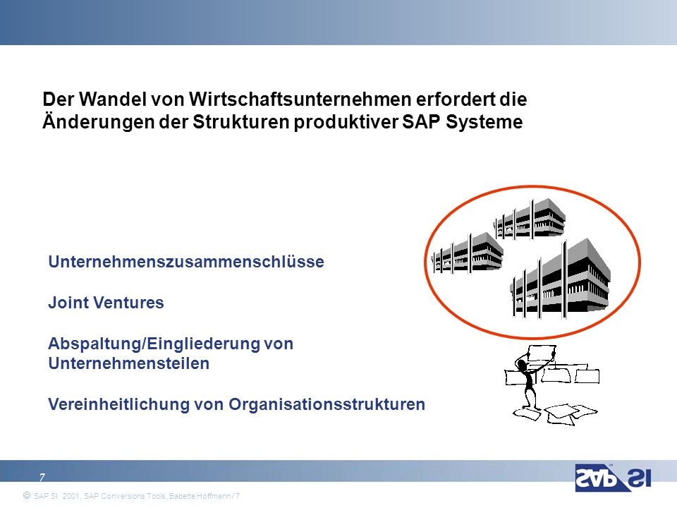 Der Wandel von Wirtschaftsunternehmen erfordert die Änderungen der Strukturen produktiver SAP Systeme