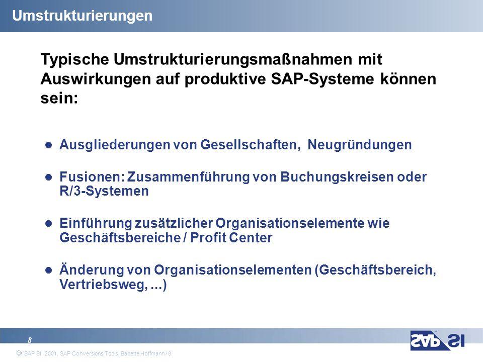 Umstrukturierungen Typische Umstrukturierungsmaßnahmen mit Auswirkungen auf produktive SAP-Systeme können sein: