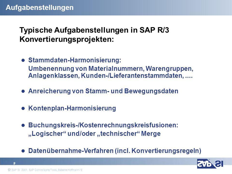 Typische Aufgabenstellungen in SAP R/3 Konvertierungsprojekten: