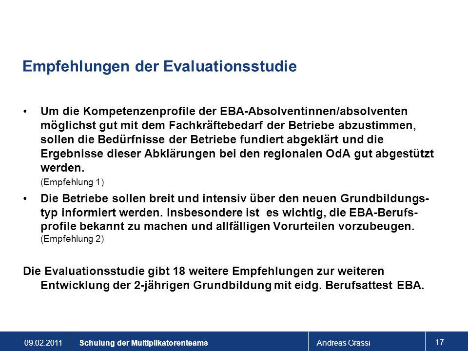 Empfehlungen der Evaluationsstudie