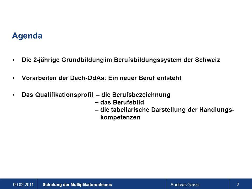Agenda Die 2-jährige Grundbildung im Berufsbildungssystem der Schweiz