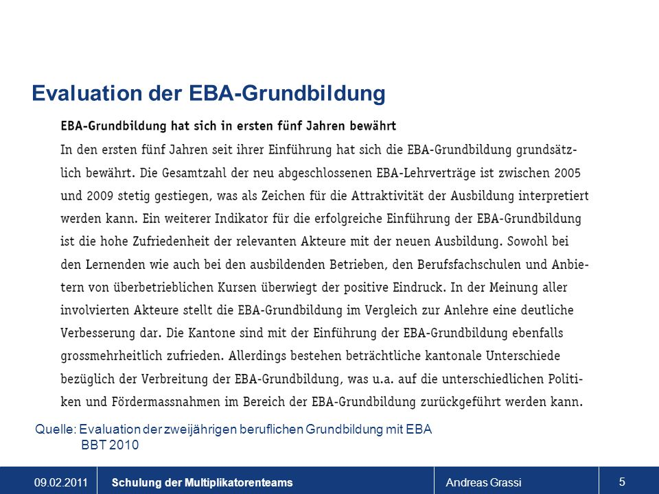 Evaluation der EBA-Grundbildung