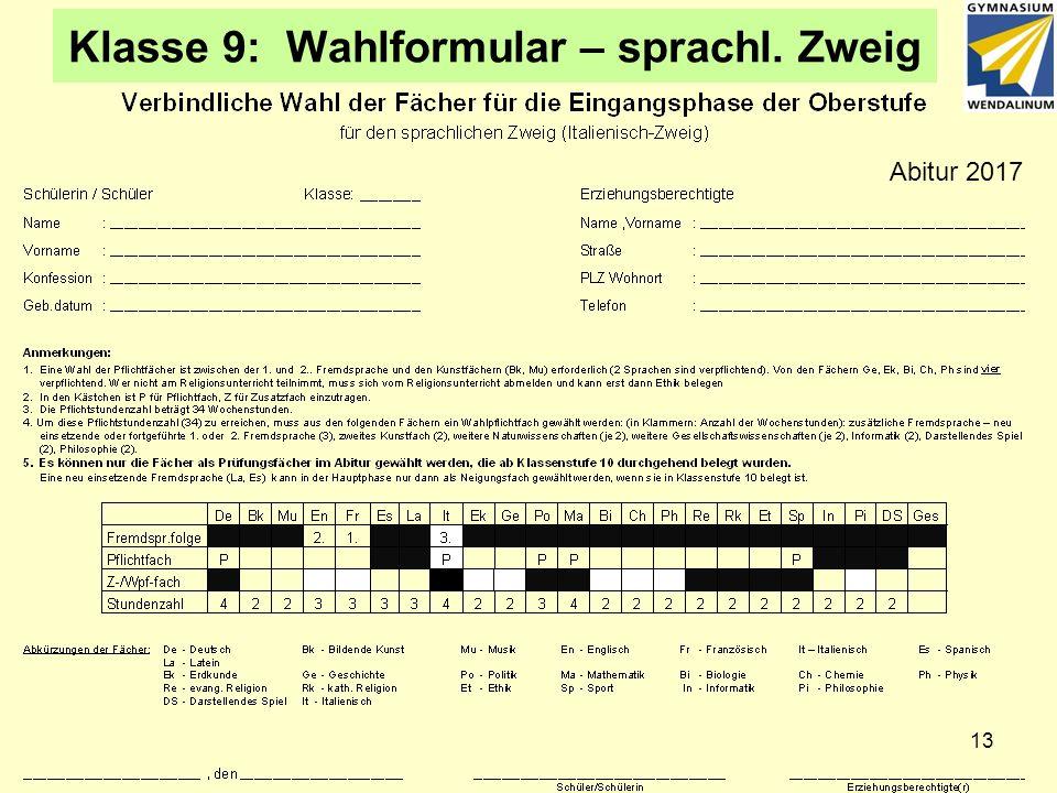 Klasse 9: Wahlformular – sprachl. Zweig