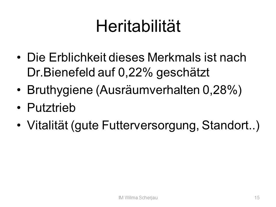 Heritabilität Die Erblichkeit dieses Merkmals ist nach Dr.Bienefeld auf 0,22% geschätzt. Bruthygiene (Ausräumverhalten 0,28%)