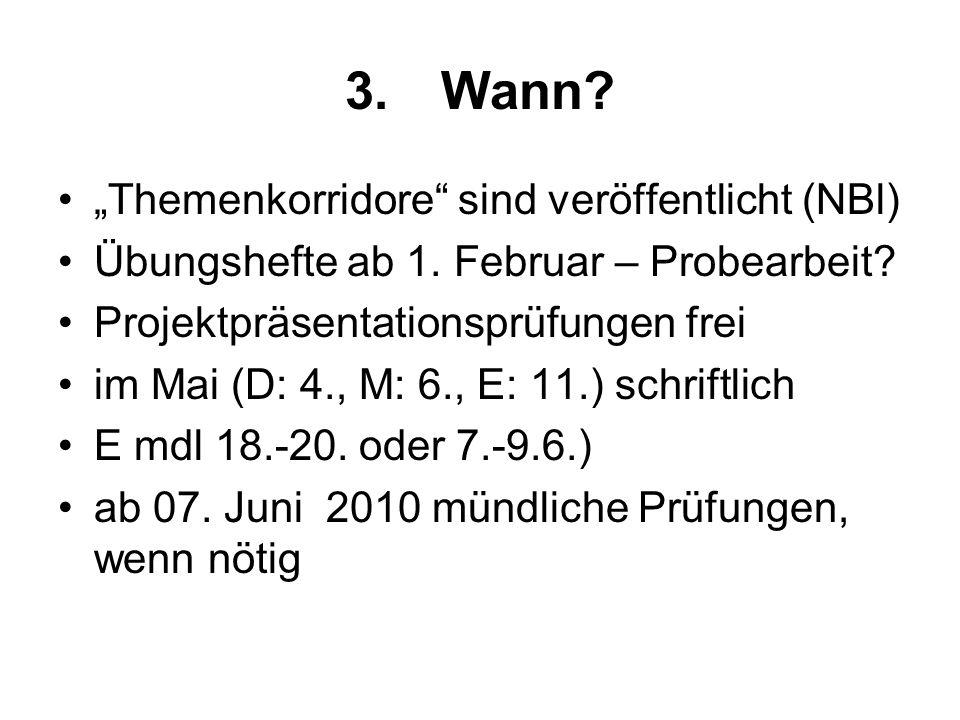 """3. Wann """"Themenkorridore sind veröffentlicht (NBl)"""