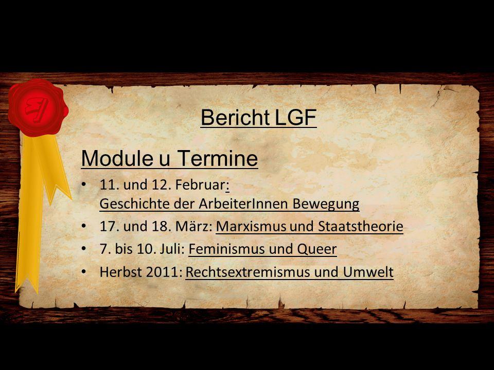 Bericht LGF Module u Termine