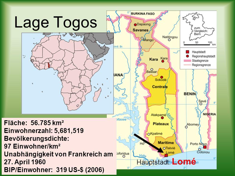 Lage Togos Fläche: 56.785 km². Einwohnerzahl: 5,681,519 Bevölkerungsdichte: 97 Einwohner/km². Unabhängigkeit von Frankreich am 27. April 1960.