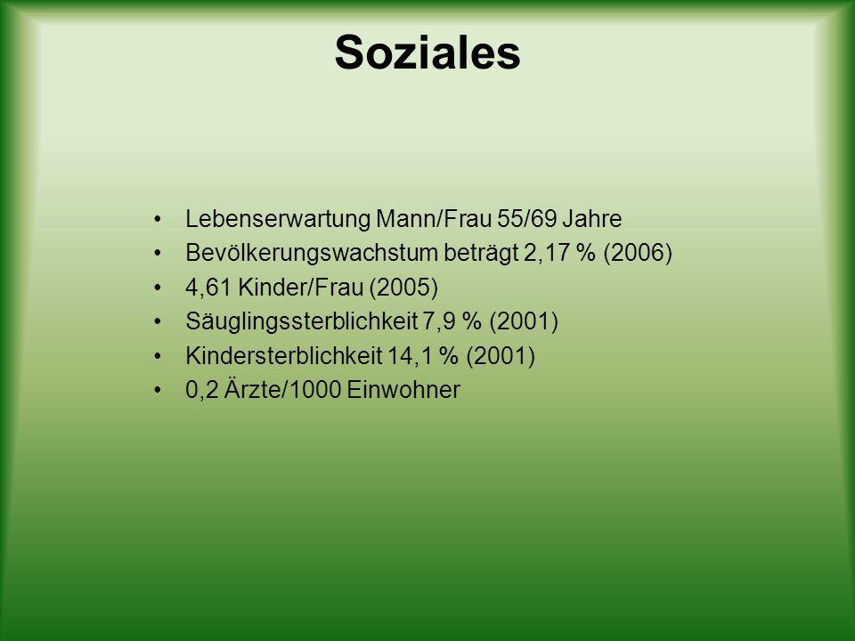 Soziales Lebenserwartung Mann/Frau 55/69 Jahre