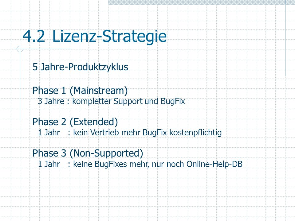 4.2 Lizenz-Strategie 5 Jahre-Produktzyklus Phase 1 (Mainstream)