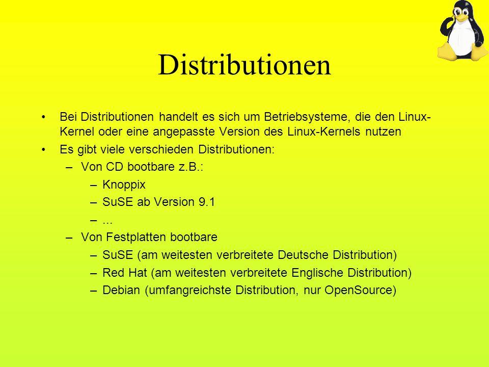 Distributionen Bei Distributionen handelt es sich um Betriebsysteme, die den Linux-Kernel oder eine angepasste Version des Linux-Kernels nutzen.
