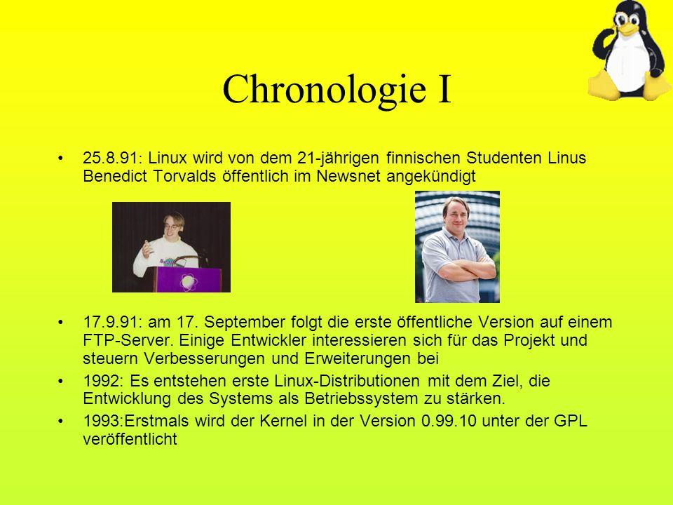 Chronologie I 25.8.91: Linux wird von dem 21-jährigen finnischen Studenten Linus Benedict Torvalds öffentlich im Newsnet angekündigt.