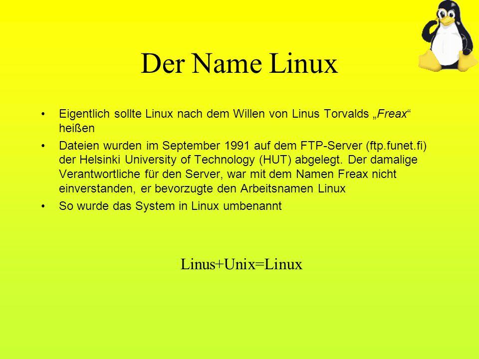 Der Name Linux Linus+Unix=Linux