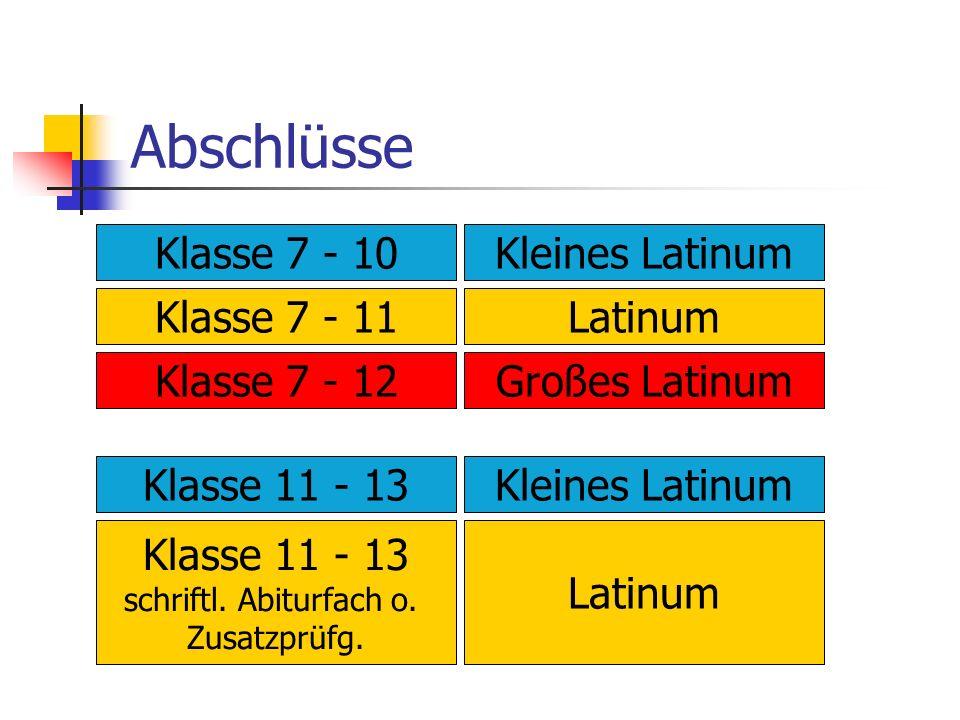 Abschlüsse Klasse 7 - 10 Kleines Latinum Klasse 7 - 11 Latinum