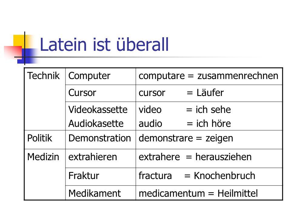 Latein ist überall Technik Computer computare = zusammenrechnen Cursor