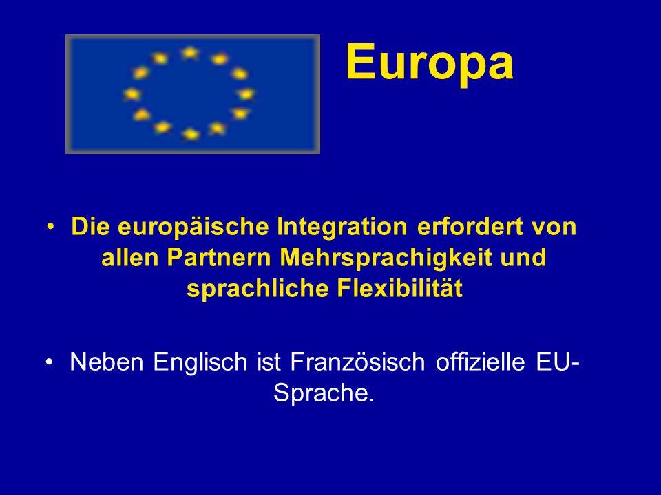 Neben Englisch ist Französisch offizielle EU-Sprache.