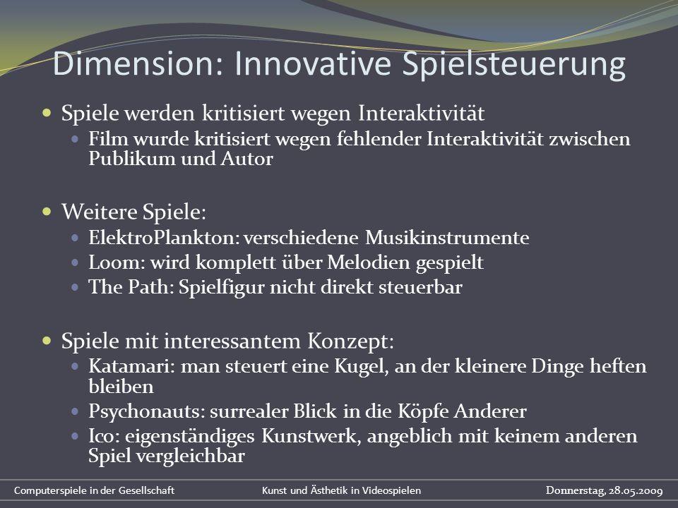 Dimension: Innovative Spielsteuerung