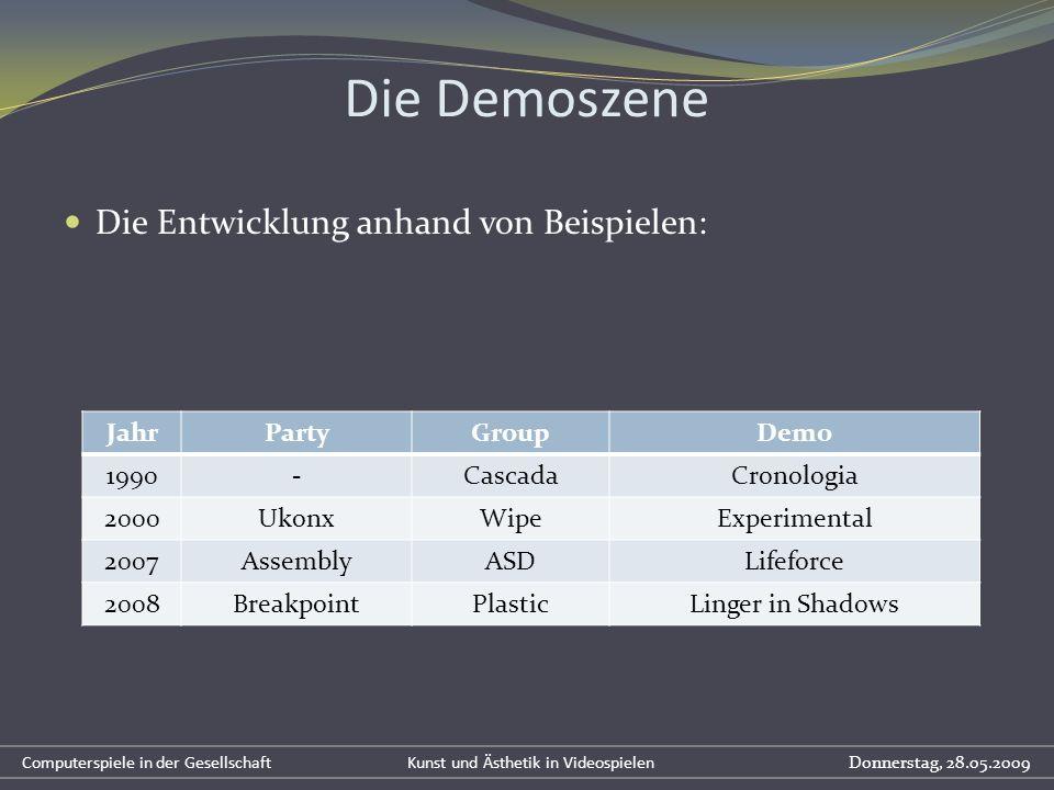 Die Demoszene Die Entwicklung anhand von Beispielen: Jahr Party Group