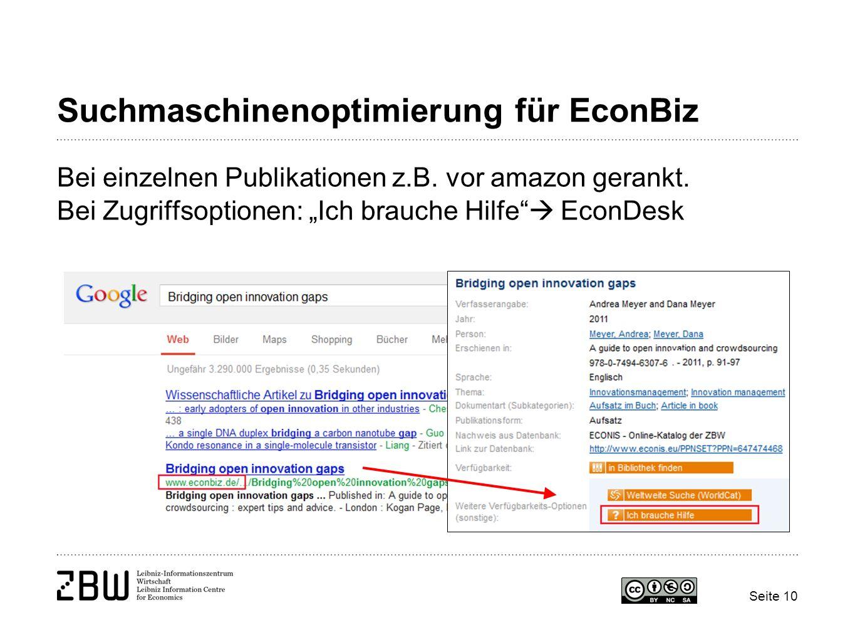 Suchmaschinenoptimierung für EconBiz