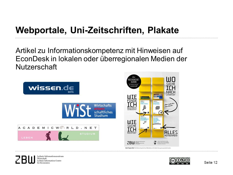 Webportale, Uni-Zeitschriften, Plakate