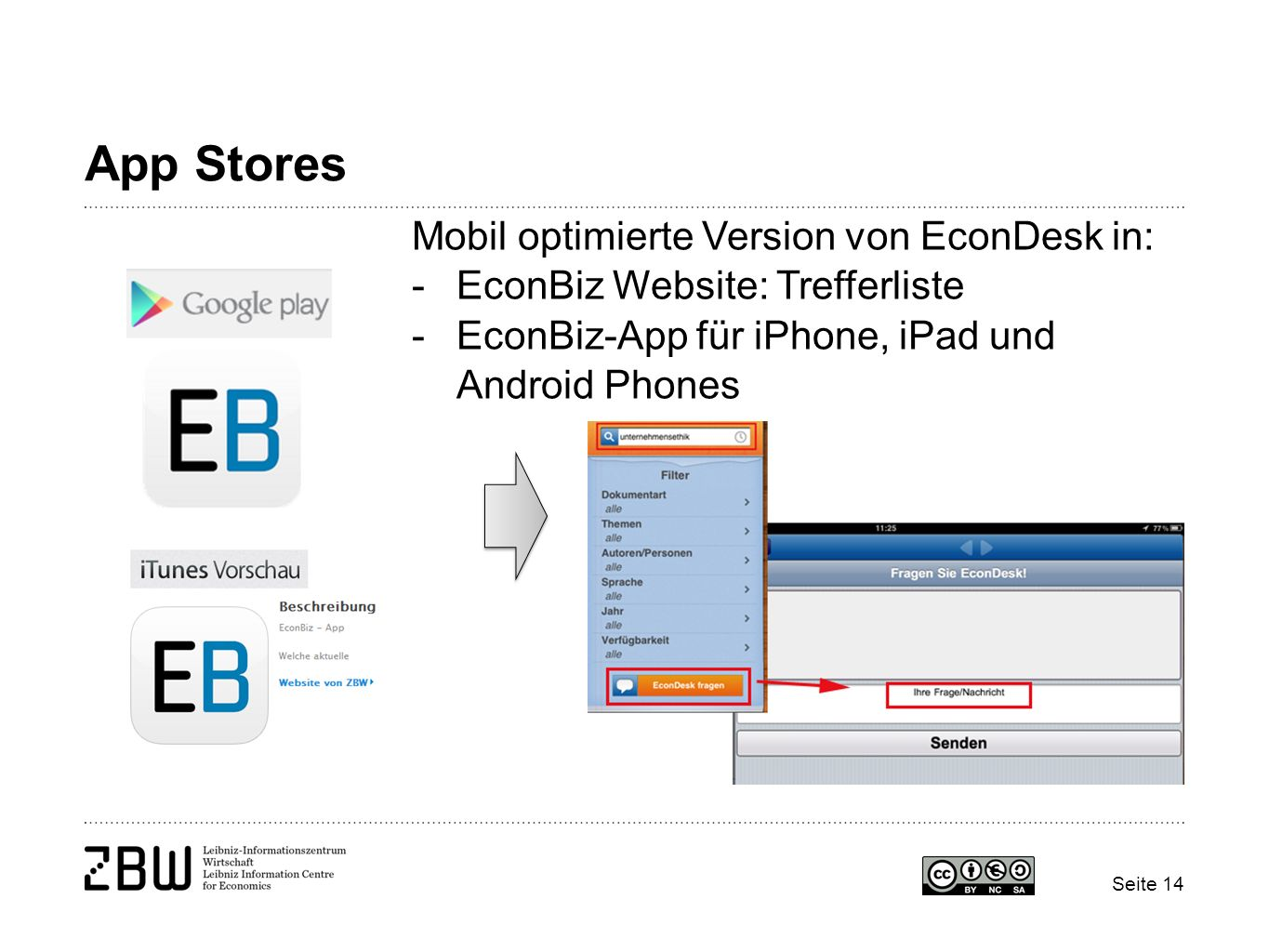 App Stores Mobil optimierte Version von EconDesk in: