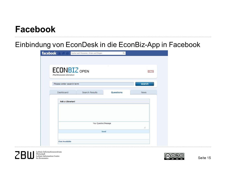Facebook Einbindung von EconDesk in die EconBiz-App in Facebook