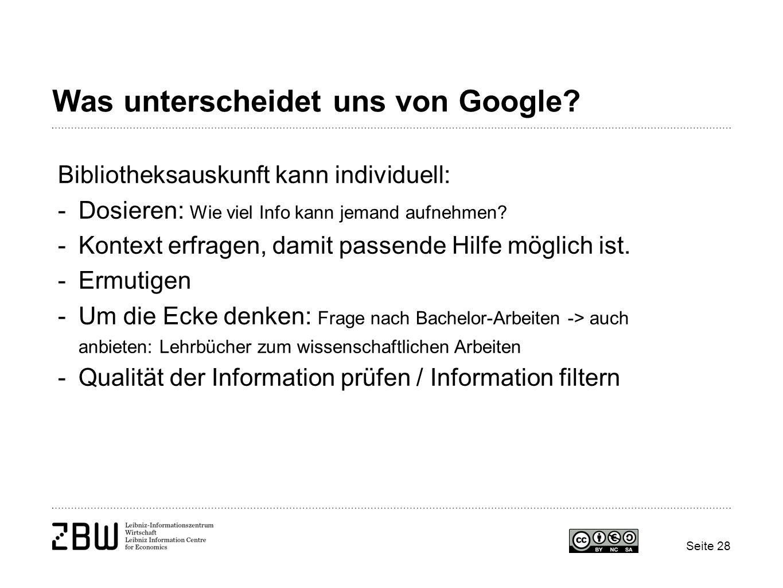 Was unterscheidet uns von Google