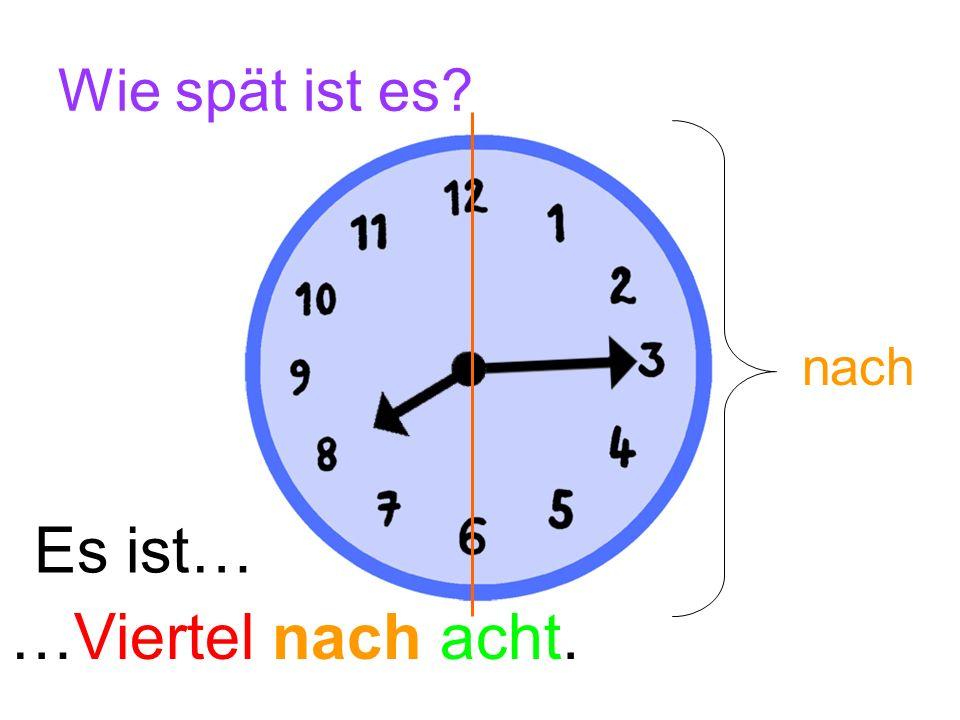 Wie spät ist es nach Es ist… …Viertel nach acht.