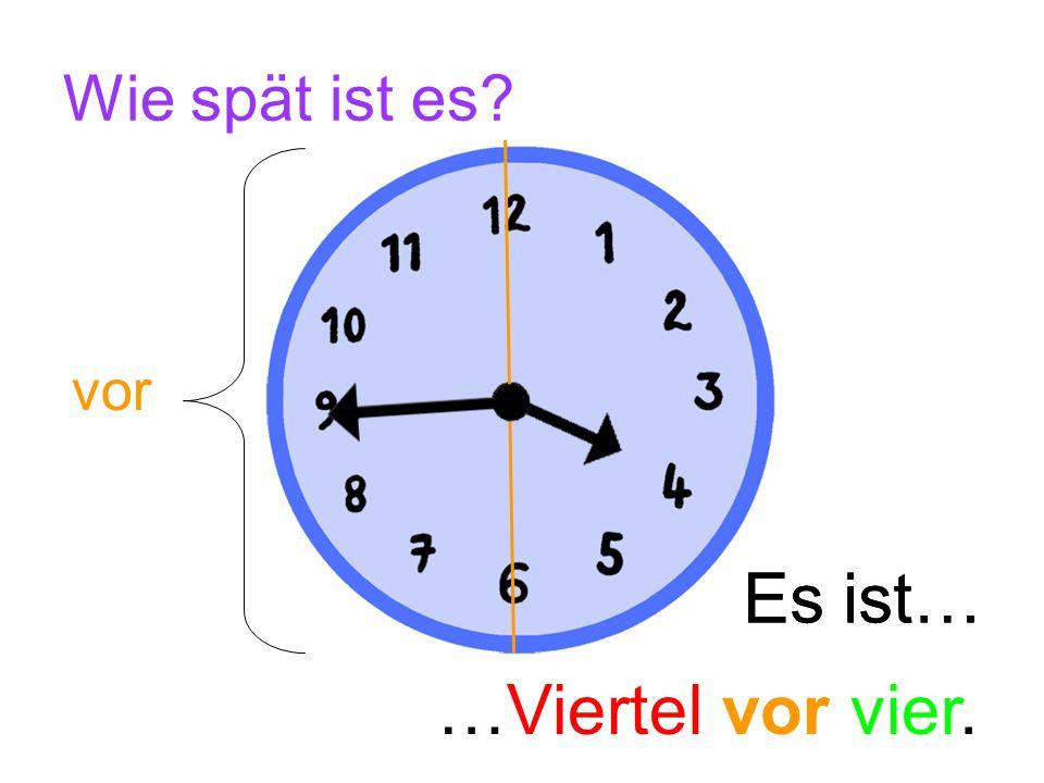 Wie spät ist es vor Es ist… Es ist… …Viertel vor vier.