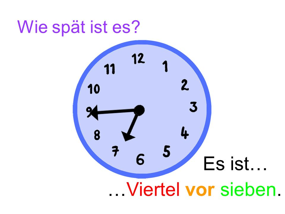 Wie spät ist es Es ist… …Viertel vor sieben.