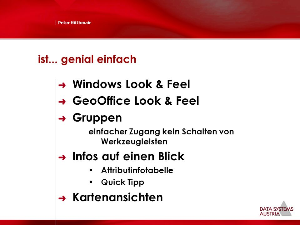 Windows Look & Feel GeoOffice Look & Feel Gruppen