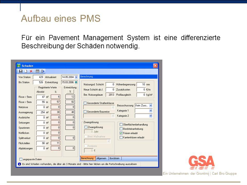 Aufbau eines PMS Für ein Pavement Management System ist eine differenzierte Beschreibung der Schäden notwendig.