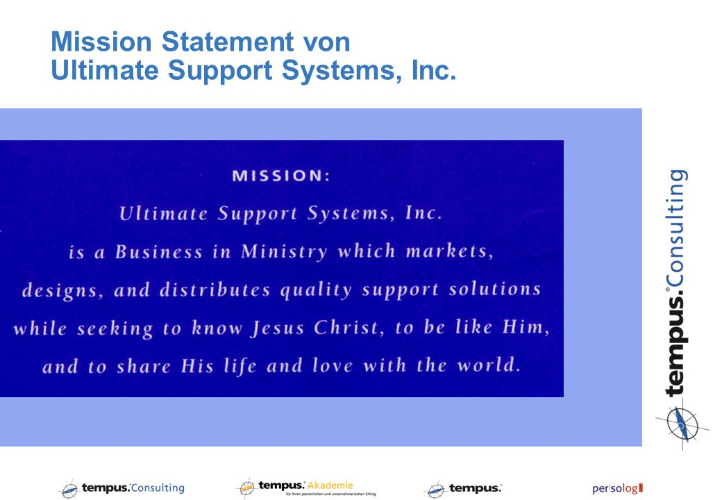Mission Statement von Ultimate Support Systems, Inc.