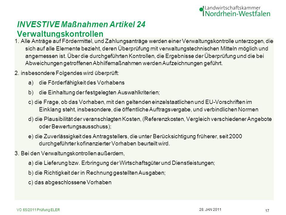 INVESTIVE Maßnahmen Artikel 24 Verwaltungskontrollen